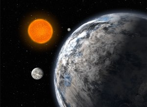 Artist's impression of the trio of super-Earths discovered by an European team using the HARPS spectrograph on ESO's 3.6-m telescope at La Silla, Chile, after 5 years of monitoring. The three planets, having 4.2, 6.7, and 9.4 times the mass of the Earth, orbit the star HD 40307 with periods of 4.3, 9.6, and 20.4 days, respectively.